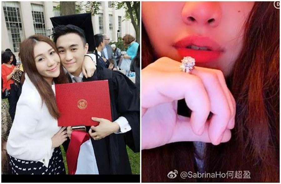 28歲賭王千金何超盈近日曬婚戒,並表示已經懷孕3個月。(圖/翻攝自微博)