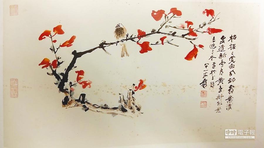張大千晚年作品「紅葉小鳥」。圖/藏家提供