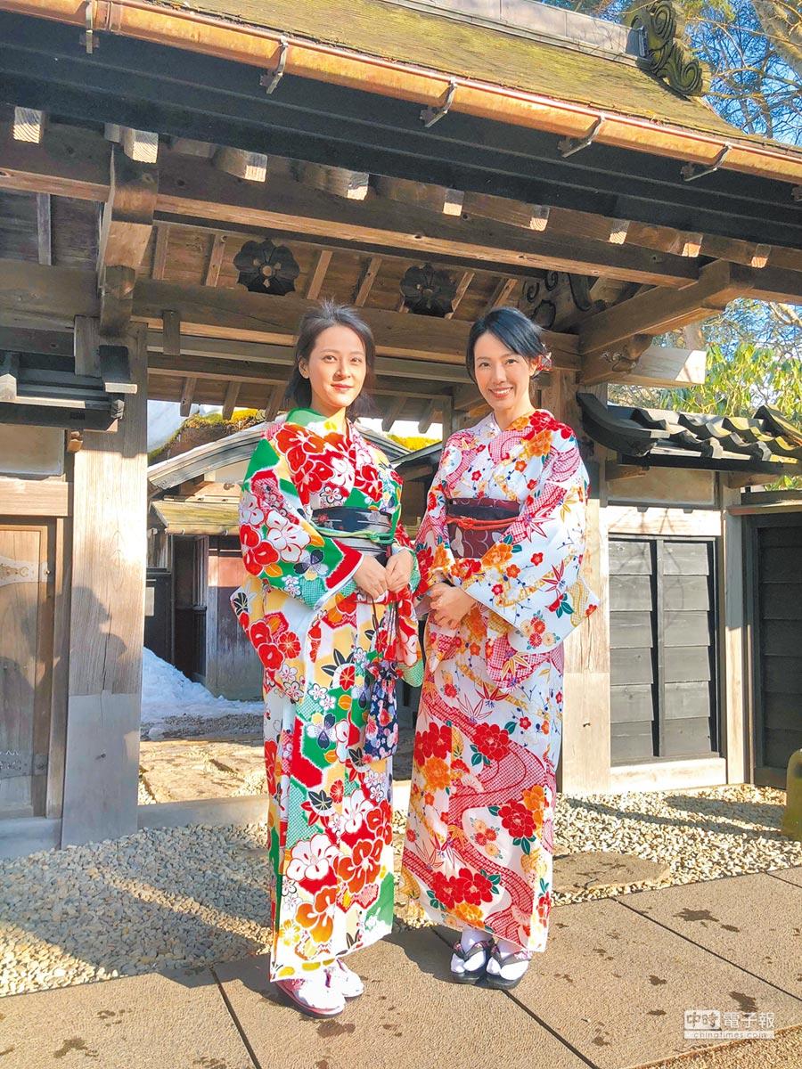 蘇晏霈(左)和黃瑄日前到日本秋田,換穿和服感受當地民俗風情。