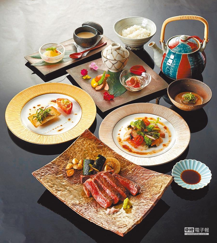 台北美福大飯店的晴山日本料理餐廳期間限定的佐賀牛鐵板燒套餐。(台北美福大飯店提供)