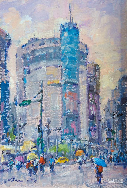 《西門町》,18×26CM,油畫,2018年。 圖片提供潘蓬彬