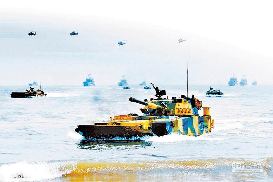 福建共軍集團軍演練。(取自中國軍網)