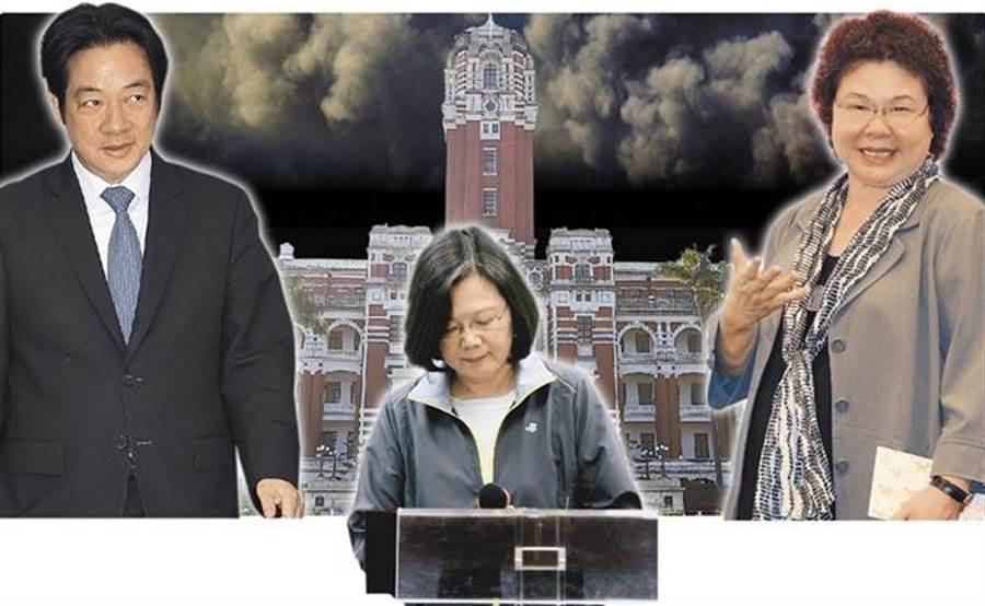前行政院長賴清德(左)、總統蔡英文(中)、總統府祕書長陳菊(右)。