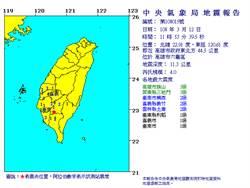 11:53高雄六龜區規模4.0地震 最大震度旗山3級