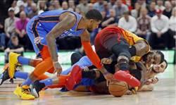 NBA》雷霆力擒爵士 對手得分百分內8戰全勝