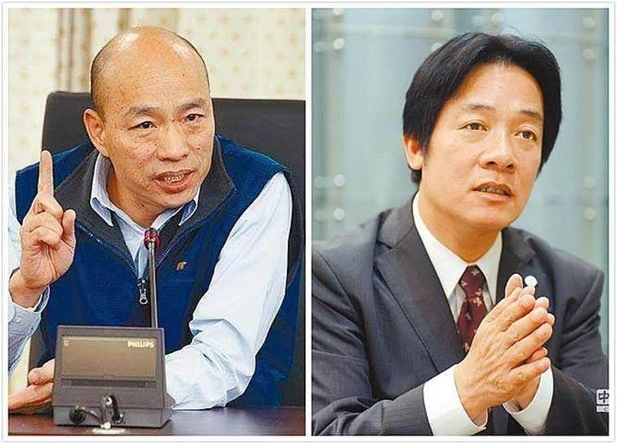 高雄市长韩国瑜(左)、前行政院长赖清德(右)。(合成图/本报系资料照)