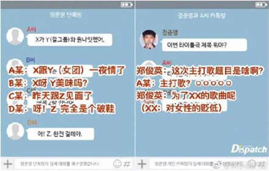 韓媒曝光鄭俊英淫片群組對話。(取自微博)
