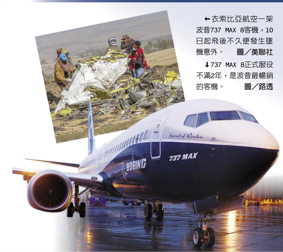 衣索比亞航空一架波音737 MAX 8客機,10日起飛後不久便發生墜機意外。圖/美聯社  ↓737 MAX 8正式服役不滿2年,是波音最暢銷的客機。圖/路透