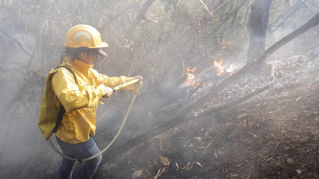森林護管員執行打火任務。(林務局提供)