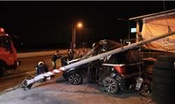 影》又是酒駕! 酒後開車撞斷燈桿 人對折夾車內送醫急救