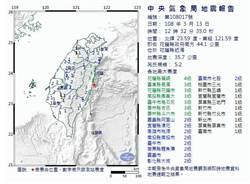 地牛又翻身!12:32花蓮外海規模5.2地震 最大震度4級