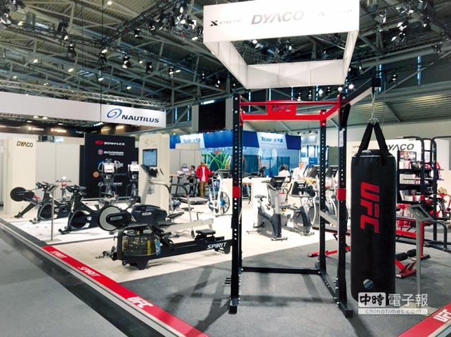 岱宇國際將在13日登場的美國IHRSA展,大力推銷全新UFC品牌系列健身(含重量訓練)器材產品。圖/岱宇提供