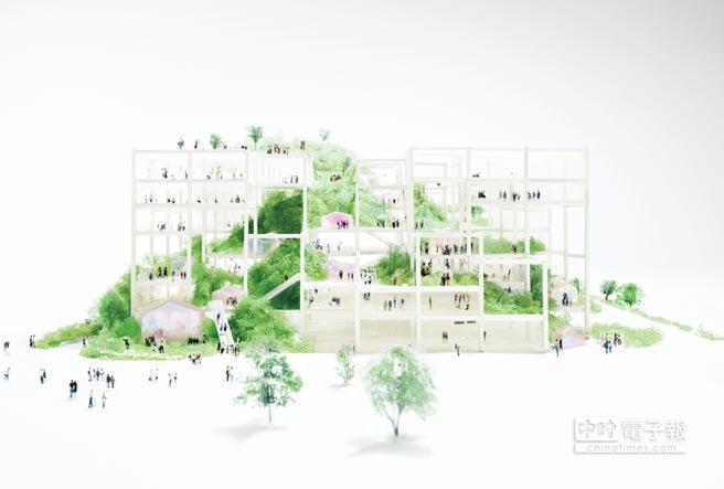 作品「Taipei Complex」藉由框架與斜坡的大膽設計,傳達「人為」與「自然」非二元對立的關係,而是一體兩面,彼此共生牽連。圖/忠泰美術館提供
