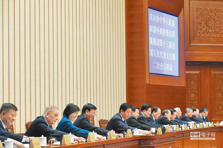 1月30日,大陸十三屆全國人大常委會審議《外商投資法》草案。(中新社)