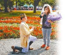 王子騎馬花博求婚 女友喜極而泣