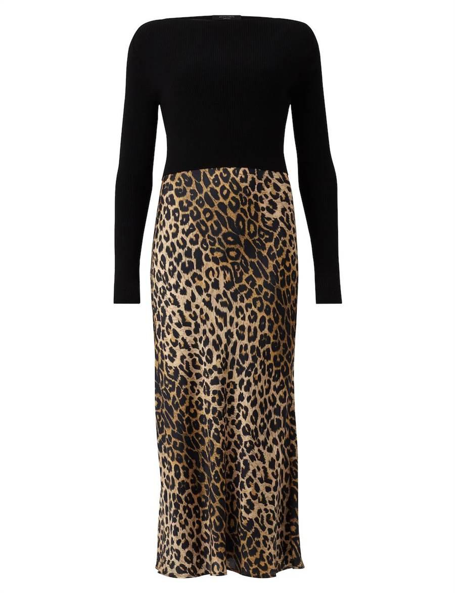 AllSaints Hera豹紋兩件式洋裝,8700元。(品牌提供)