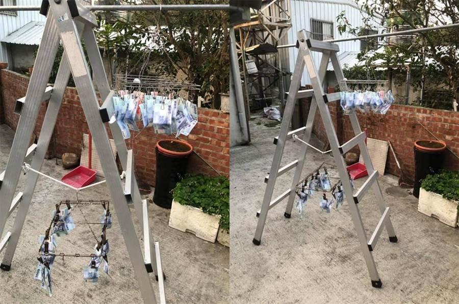 「搖錢曬衣架」千鈔隨風飄 網笑:在洗錢(圖/翻攝自臉書《爆廢公社公開版》)