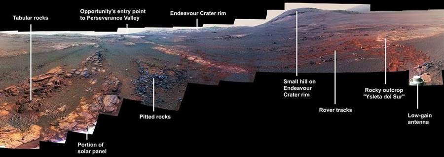 機會號最後長眠地「毅力谷」(Perseverance Valley)的畫面。(圖/NASA)