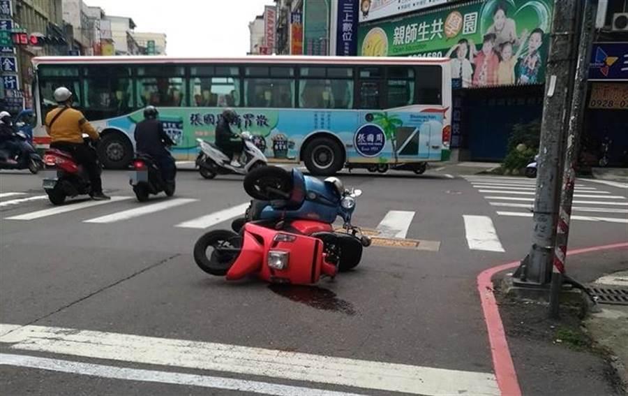 一名网友上班路上巧遇车祸,离奇事故现场让网笑喊「穿越种族的交配」。(翻摄自爆废公社)
