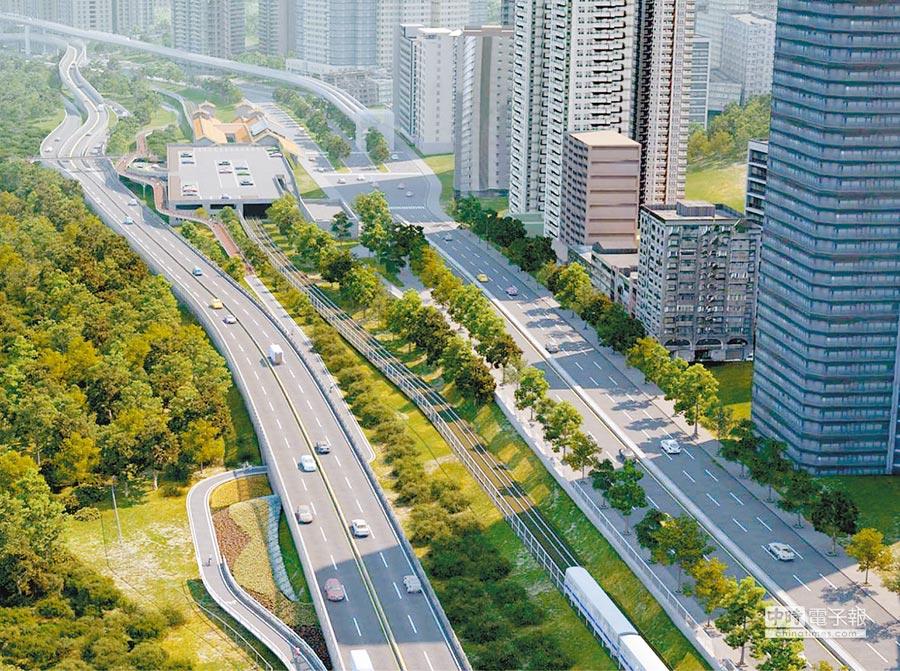 淡北快速道路完工後示意圖。(報系資料照/葉書宏翻攝)