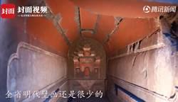 挖水溝發現罕見古墓 壁畫顏色像新的驚艷眾人