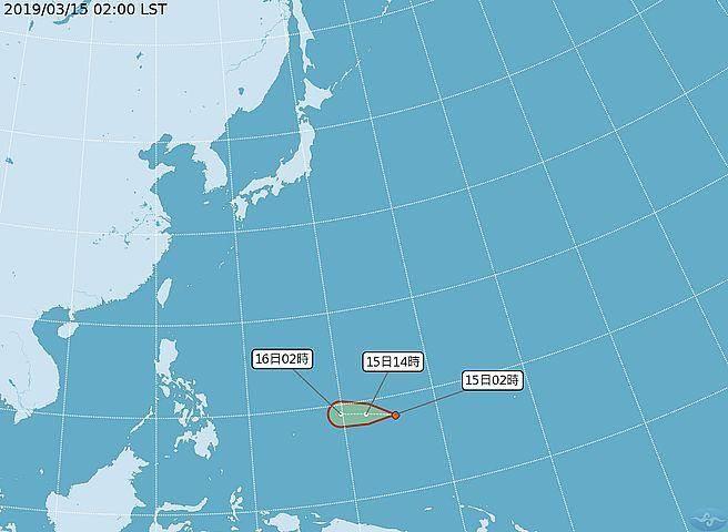 琉球海面有一個熱低壓成形,氣象局不排除此熱低壓會成為颱風。(圖取自氣象局網頁)
