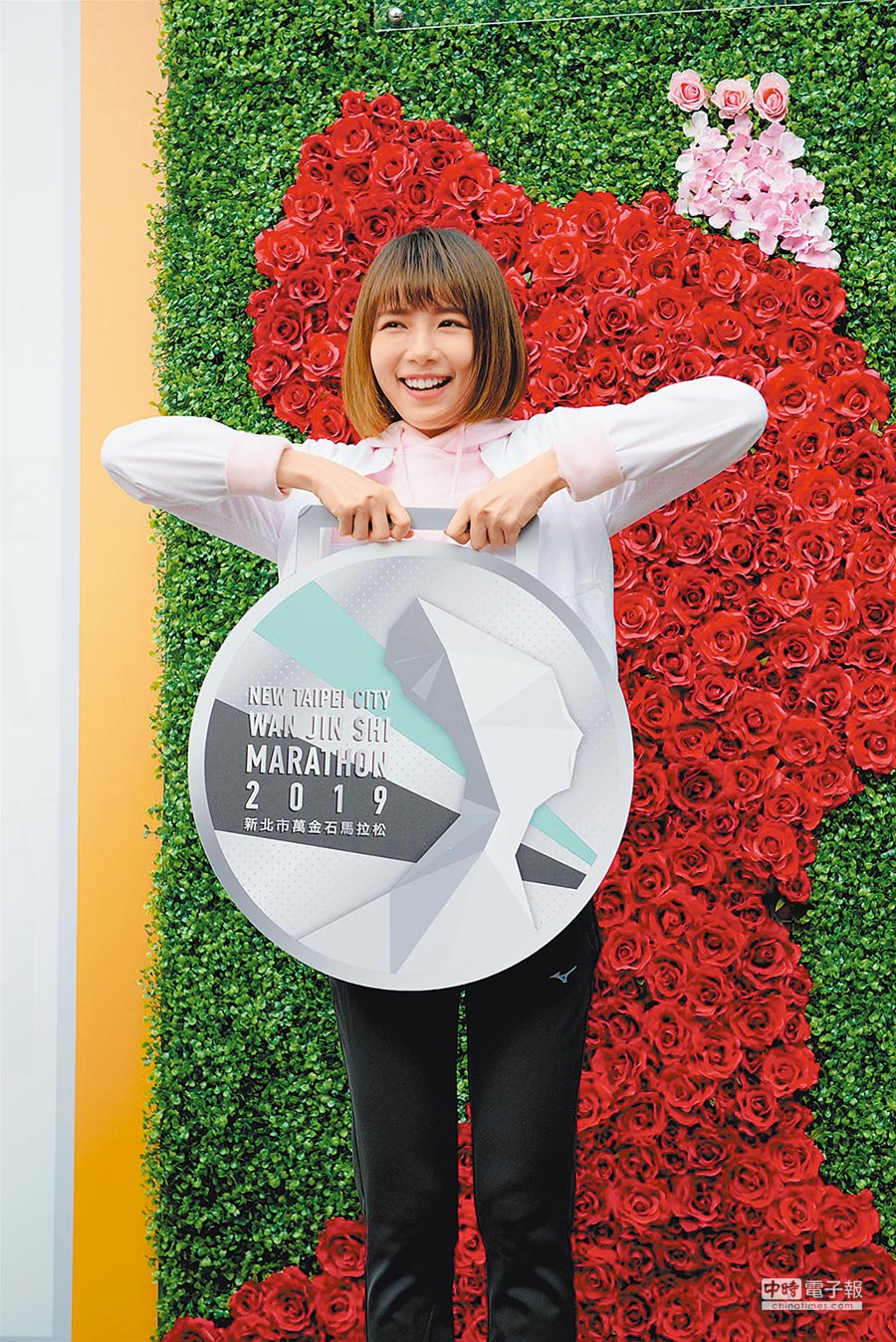 林明禎昨出席萬金石馬拉松EXPO博覽會。