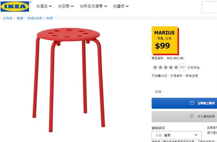 這款IKEA板凳雖然售價僅99元,但若送到宜花東地區,運費5千元。(截自IKEA線上購物網頁)
