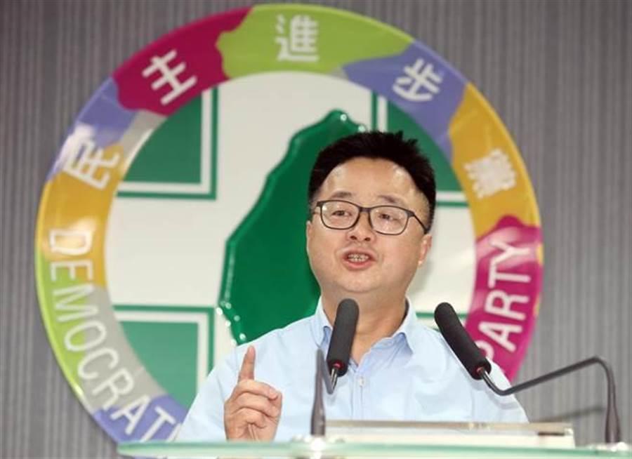 民進黨秘書長羅文嘉舉行記者會。(姚志平攝)