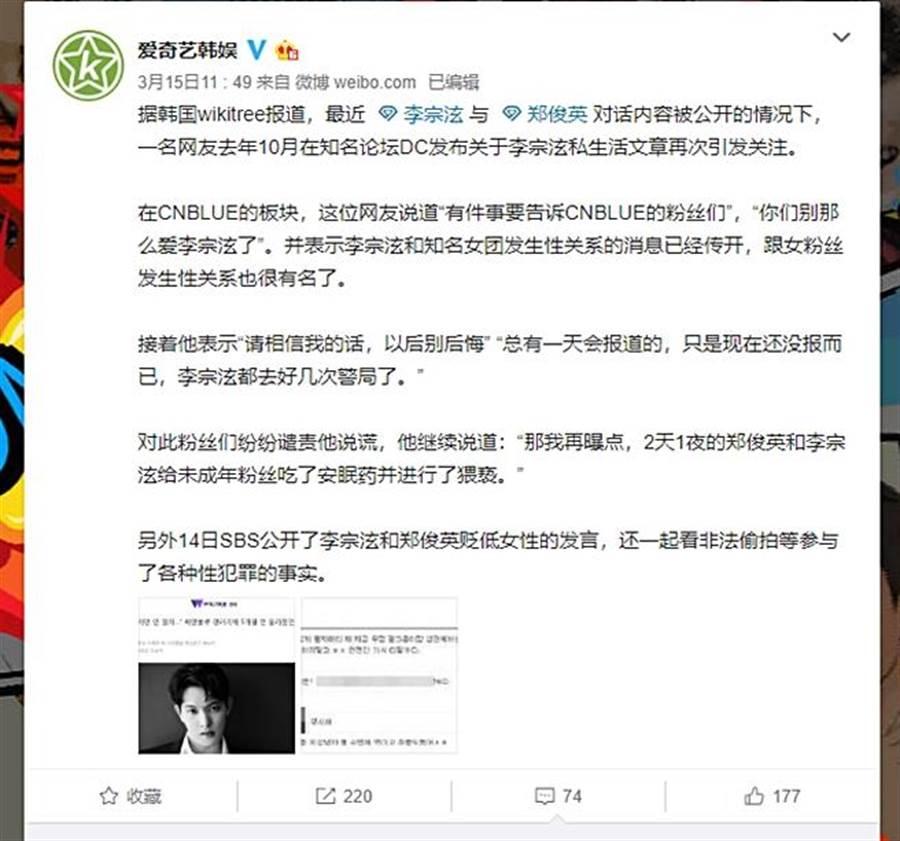 網友挖出去年有人在論壇爆料李宗泫內容。(圖/翻攝自愛奇藝韓娛微博)