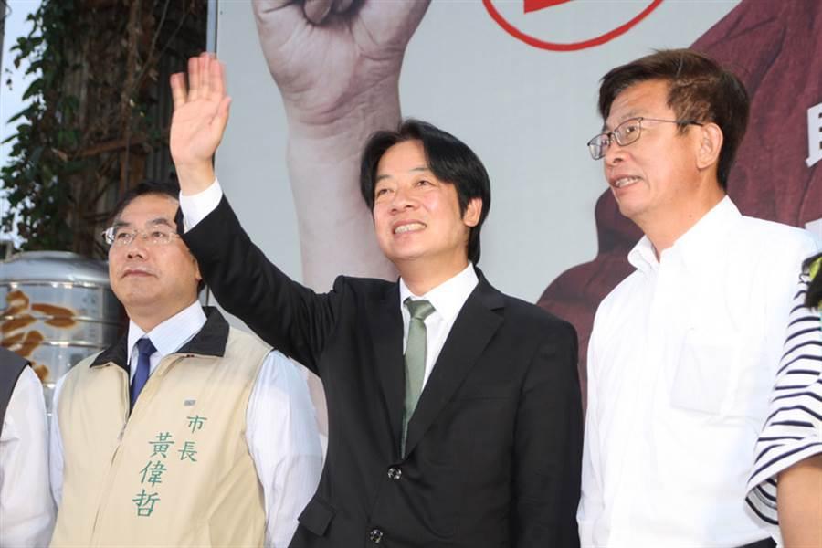 前行政院長賴清德(中)宣布參選民進黨總統初選。(圖片來源:中央社)