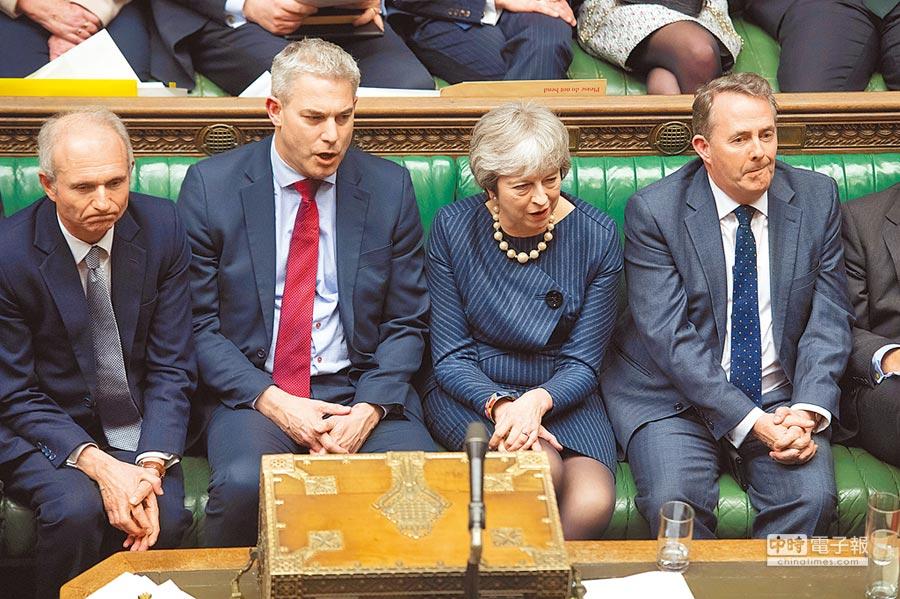 英國國會討論是否延遲脫歐,首相梅伊列席。圖/路透