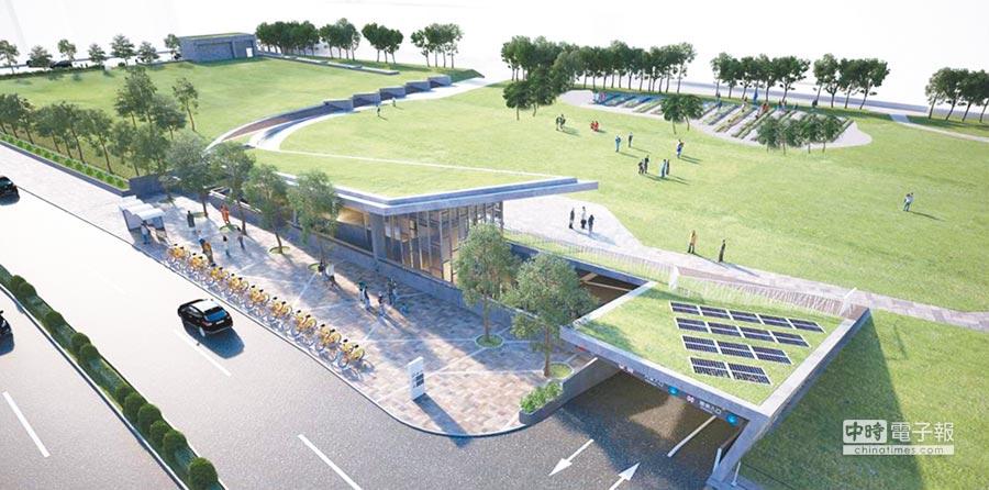 三重商工地下停車場將在7月啟用,透過設計帶入地表下的停車空間,創造可呼吸的地景式停車空間與校園周遭建築形式融合。(葉德正翻攝)