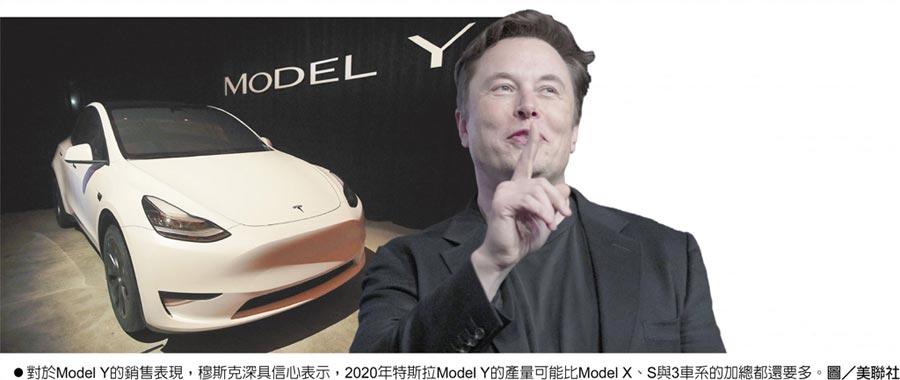 對於Model Y的銷售表現,穆斯克深具信心表示,2020年特斯拉Model Y的產量可能比Model X、S與3車系的加總都還要多。圖/美聯社