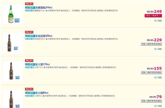 網拍上正常價格的明星花露水已經被搶購一空 (圖/翻攝自pchome)