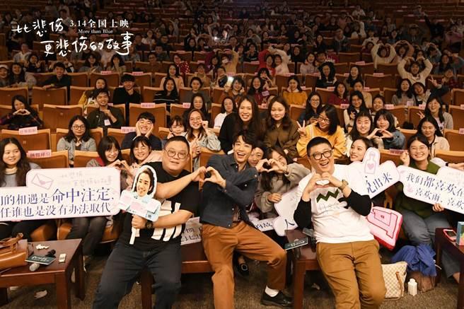 林孝謙(前排左起)、劉以豪、呂安弦赴陸宣傳電影。