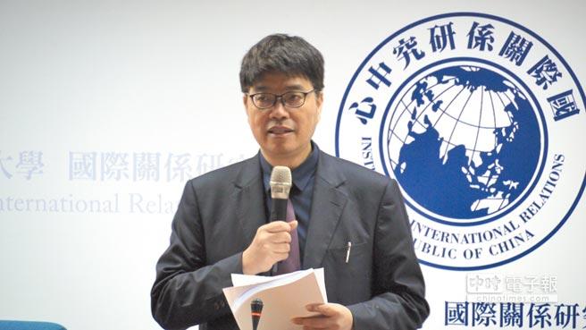 陸委會副主委邱垂正16日於「習近平時代的中國:變遷與挑戰」國際研討會致詞。(記者潘維庭攝)