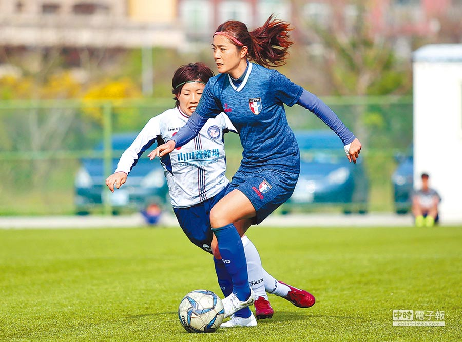 中華女足去年初與日本岡山湯鄉美人隊踢練習賽,後衛張愫心就被客隊注意到。(資料照片/李弘斌攝)
