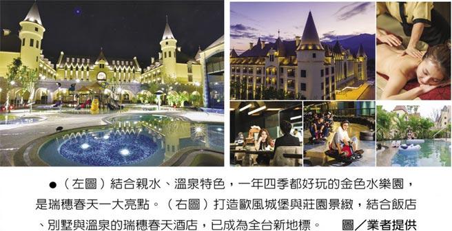 (左圖)結合親水、溫泉特色,一年四季都好玩的金色水樂園,是瑞穗春天一大亮點。(右圖)打造歐風城堡與莊園景緻,結合飯店、別墅與溫泉的瑞穗春天酒店,已成為全台新地標。圖/業者提供