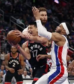 NBA》林書豪先發僅得3分 暴龍遭活塞逆襲吞敗
