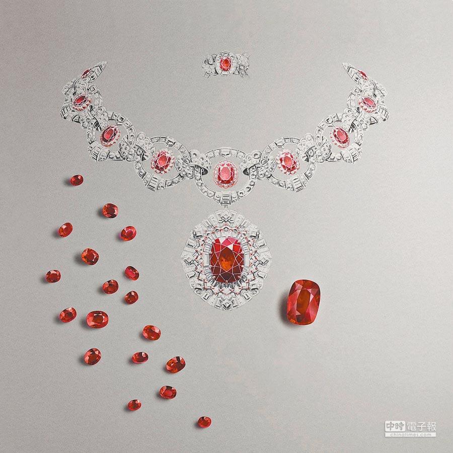 梵克雅寶Rubis flamboyant可轉換式項鍊與可轉換式戒指,25.76克拉的枕形切割紅寶石氣勢驚人,成對的戒指上鑽石可與項鍊吊墜的紅寶石互換,吊墜也可化身為胸針。(梵克雅寶提供)