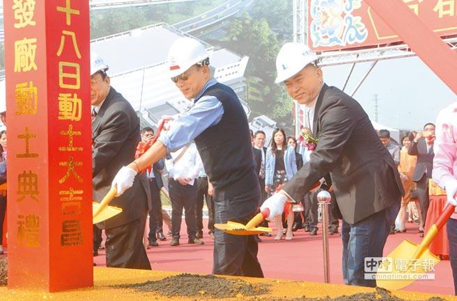 台郡科技在和發產業園區擴建新廠,高雄市長韓國瑜18日上午出席動土典禮。(林宏聰攝)