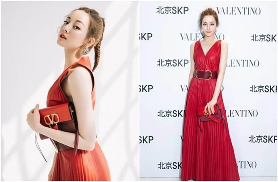 迪麗熱巴紅裙搭紅唇,性感美艷。(圖/翻攝自微博)