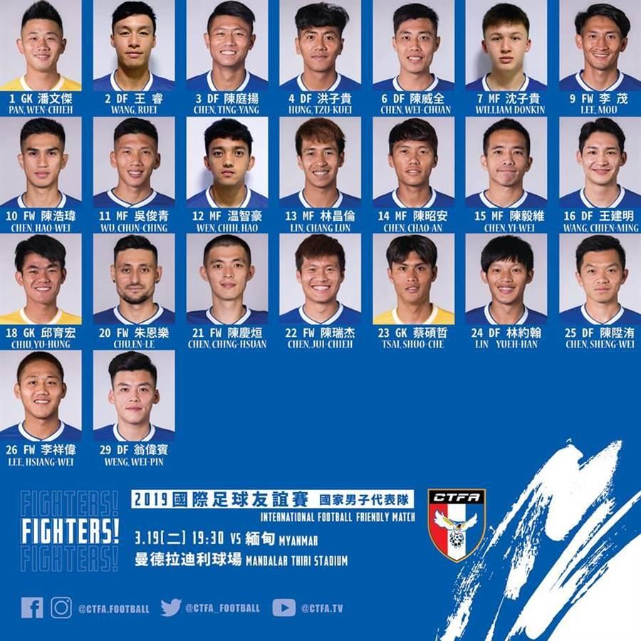 中華男足與緬甸友誼賽名單。(中華足協提供)