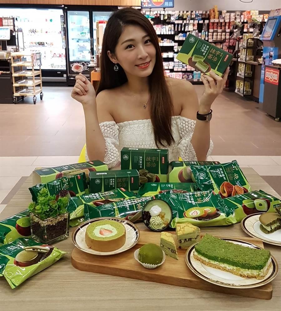 全聯We Sweet首度聯名日本京都宇治市吉祥物「茶茶小王子」,推出15款抹茶甜點。(全聯提供)