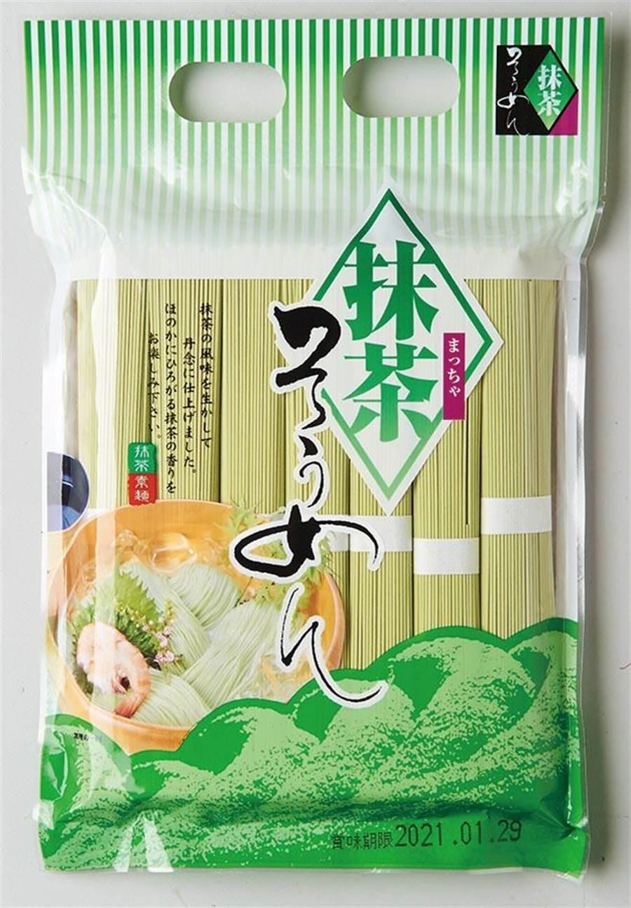 家樂福「味源抹茶素麵」,日本夏天必吃素麵口味之一,濃郁的抹茶味鮮綠麵條散發獨特香氣,199元。(家樂福提供)