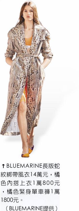 BLUEMARINE長版蛇紋綁帶風衣14萬元,橘色內搭上衣1萬800元,橘色緊身單車褲1萬1800元。(BLUEMARINE提供)