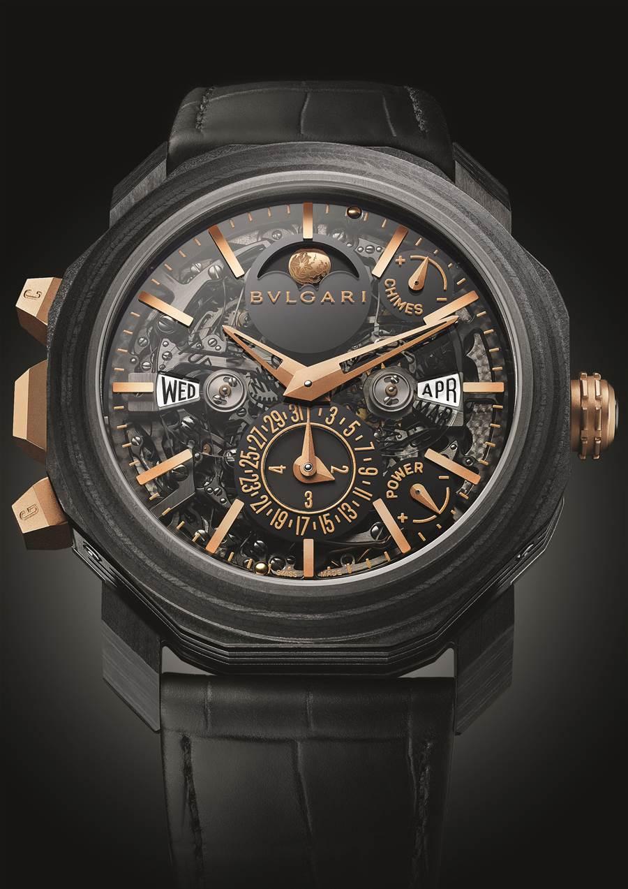 寶格麗Octo Roma大自鳴萬年曆複雜功能腕表,2613萬元。( BVLGARI提供)