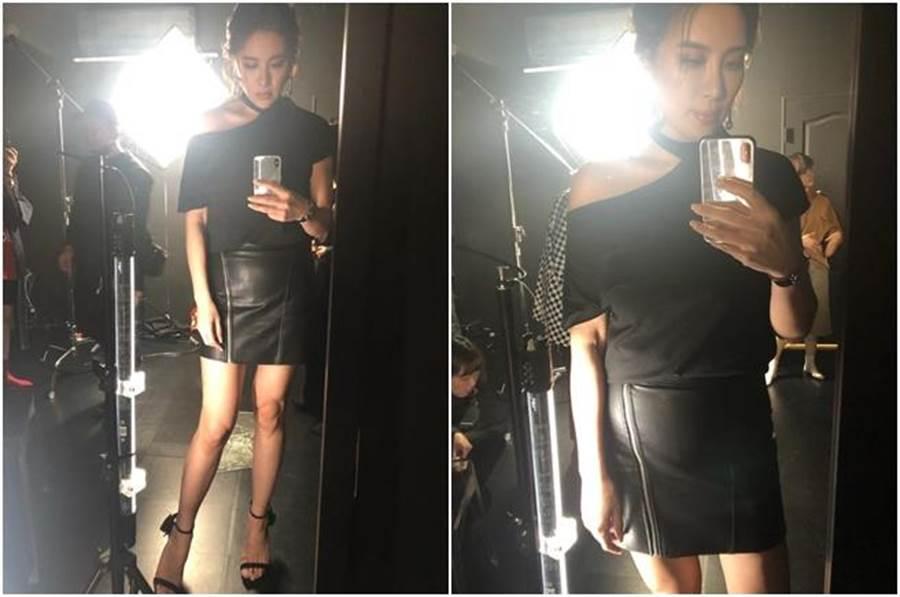 小禎穿緊身窄裙秀美腿。(圖/翻攝自小禎臉書)