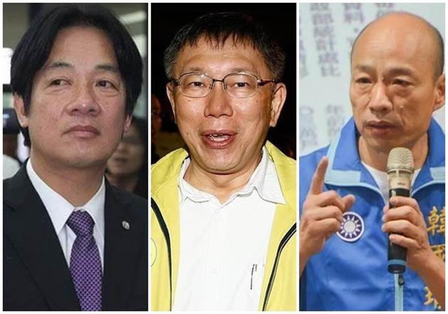 前閣揆賴清德(左)、台北市長柯文哲(中)、高雄市長韓國瑜(右)。(中時資料照片)